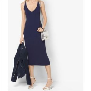 Michael Kors Navy Midi Ribbed Sweater Dress